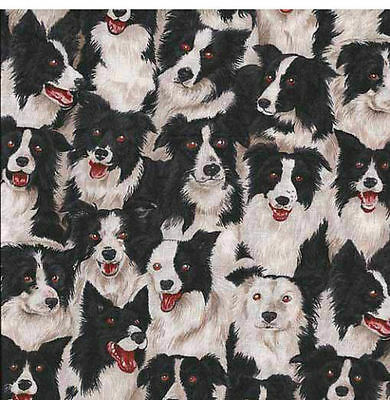 Border Collie Dog  Quilting Fabric.