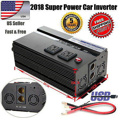 2000/4000WATT DC 12V-AC 110V Car Power Inverter Charger Converter For Electronic