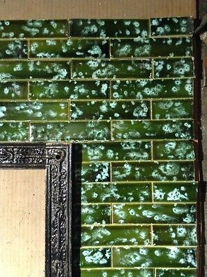 COMPLETE SET VINTAGE VICTORIAN ANTIQUE FIREPLACE TILE MANTLE TILE 131pcs Green