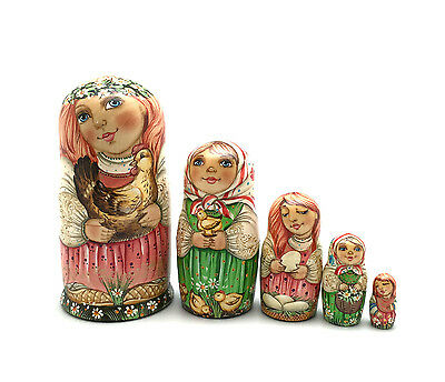 Russian Country Girl animals Nesting DOLL 5 piece set Hand Carved Hand Painted