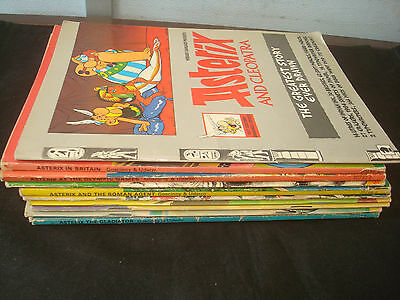 Set of 11 Paperback Asterix Books, Mixed condition, Small Format