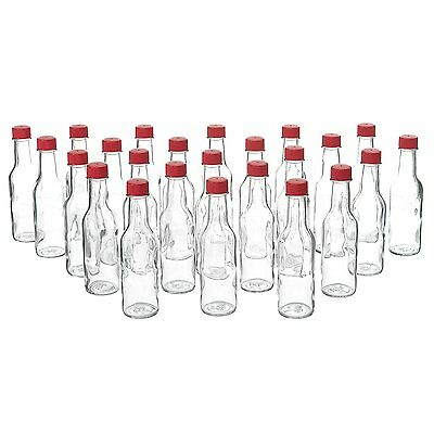 24 Pack - 5 Oz Empty Clear Glass Hot Sauce Bottles with Red Caps and Drip Dispen
