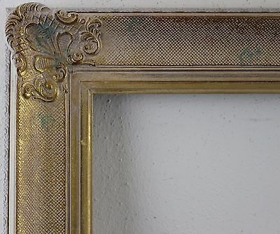 Decorated Wood Frame White Gold falzmass approx. 51x61 cm