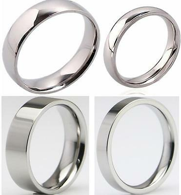 50x High Polish Silver 4mm 6mm Band Rings Men Women Stainless Steel Wedding Ring