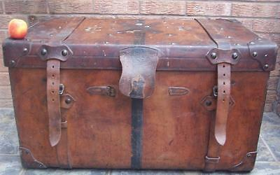 Leather Trunk - Antique Victorian / Edwardian - Genuine as found condition