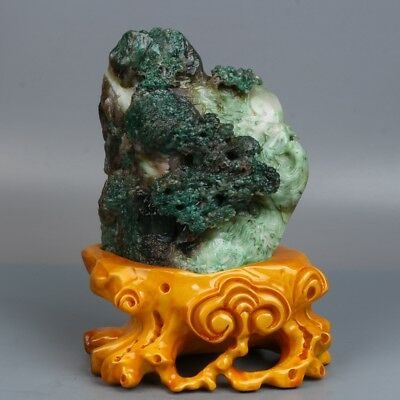 Chinese Exquisite Hand carved Natural landscape carving Dushan jade Statue