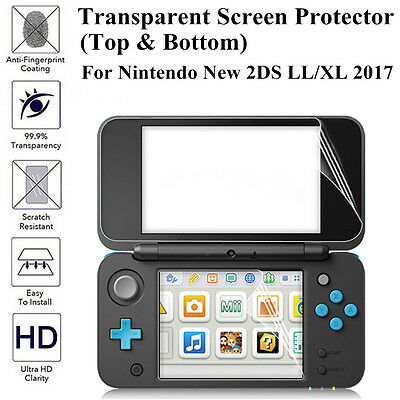 Clear Top+Bottom LCD Screen Protector Film Guard For Nintendo New 2DS LL/XL 2017