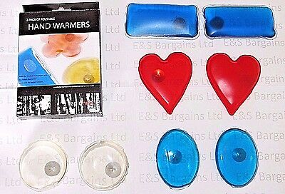 Hand Gel Warmers Instant Heat Reusable Warmers Hiking Festival Camping  2 Pack