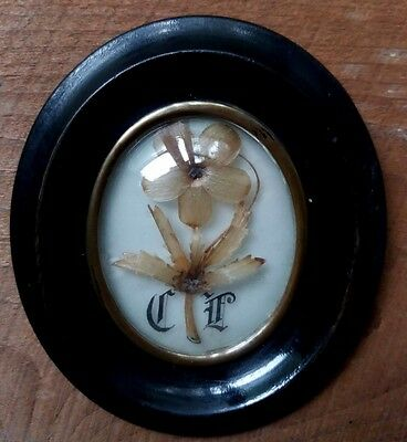 Antique Victorian Mourning Hair Picture Flower Reliquary Locket Frame Miniature