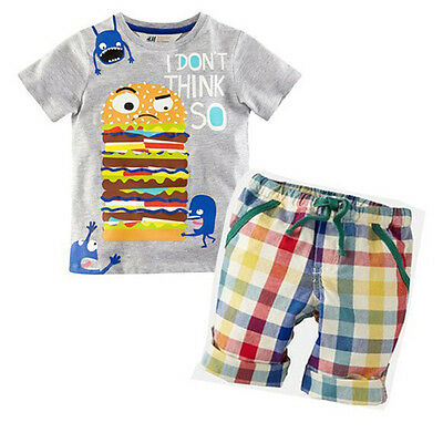 Toddler Baby Boys Kids Clothes T-shirt Tee Tops + Shorts Pants Outfits Sets 1-6T