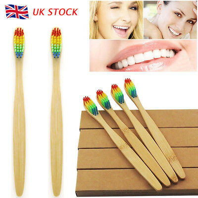 4x Professional Colorful Bamboo Toothbrush Adult Ecological Biodegradable Handle