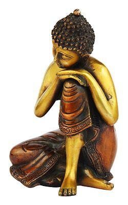 Thinking Antique Bronze Buddha Statue Brass Chinese Tibet Buddhism Idol 8""