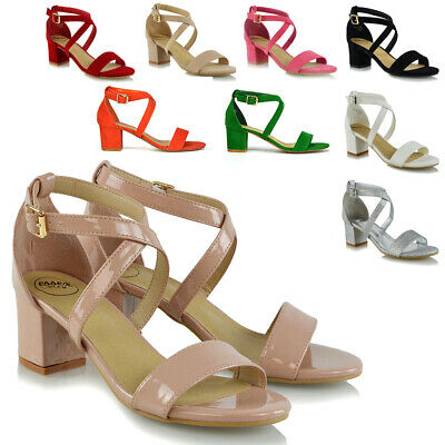 e12d3022e1 WOMENS STRAPPY SANDALS Low Mid Heel Block Ladies Peep Toe Party Prom Shoes  Size - EUR 22,41 | PicClick IT