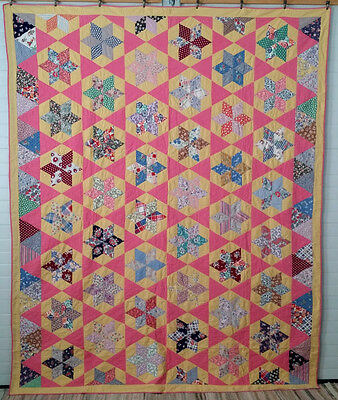 Vintage 1920's-30's Antique Quilt STARS within STARS Feedsack & Novelty Fabrics