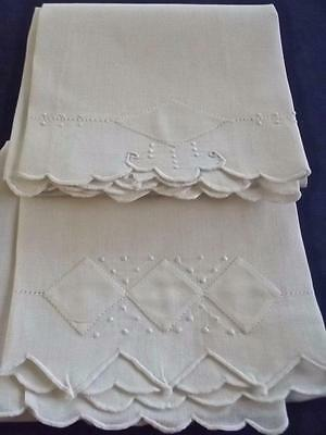 2 Antique Madeira Linen All White Bridal 13x20 Guest Towels Geometric Applique