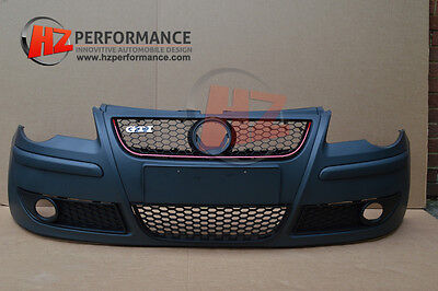 VW POLO 2005 TO 2008 GTI LOOK FRONT BUMPER PP PLASTIC | 9N 9N3 inc GRILL GRILLE