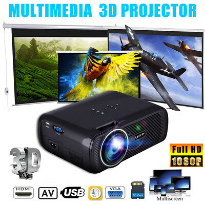 Full 7000 Lumens LED 3D Mini Home Cinema Projector 1080p HD Video HDMI USB VGA