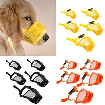 Pet Dog Adjustable Mask No Barking Bite Mesh Mouth Muzzle Anti Stop Chewing New
