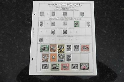 F80 Lot of Kenya Uganda Tanganyika stamps 1890-1965 hinged 4 Minkus Album Pages