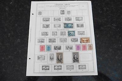 F81 Lot of Lebanon Liban stamps 1924-1965 hinged 9 Minkus Album Pages
