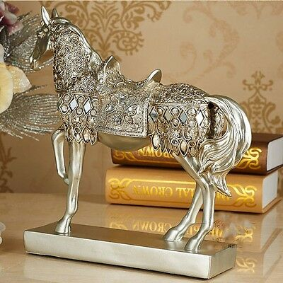 """28.8cm(11.3"""") Height Silver Horse Trotting Statue Animal Sculpture Figurine gold"""