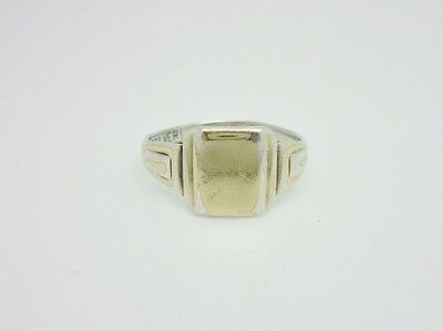 Vintage Art Deco 9ct Gold on Sterling Silver Unengraved Signet Mens Ring Size S