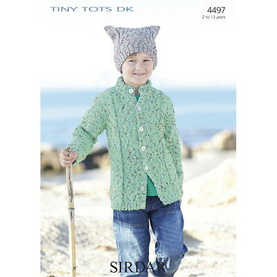 Sirdar Childrens Knitting Pattern 4497 Cardigan Hat Tiny Tots