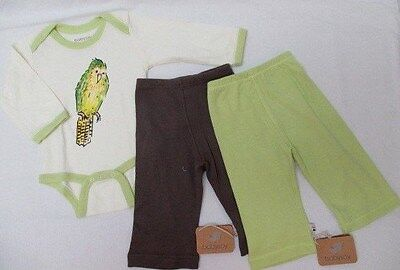 NWT 3 Pc Lot BABYSOY Organic Outfit Long Sleeve One Piece & Pants 0-3 mo (7-122)