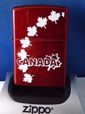 Zippo Lighter Canada Maple Leaves Candy Apple Red Canadian Souvenir New Gift Box