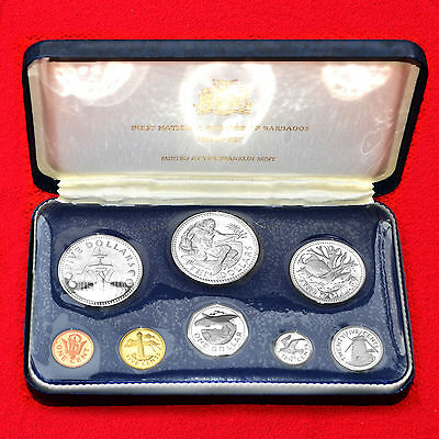 1973 Barbados Proof Set (8Pc) Coinage Franklin Mint (2 Silver Coins) + Box + Coa