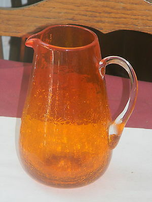 Vintage Large Orange Crackle Glass Pitcher With Applied Handle