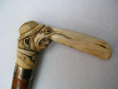Superb antique carved antler and malacca walking stick.