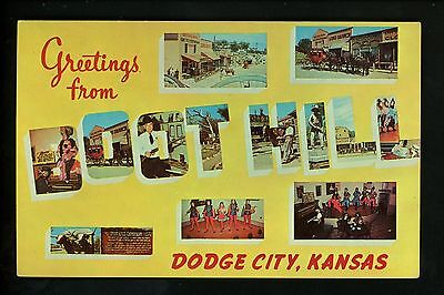 Large Letter chrome Vintage postcard Kansas KS, Boot Hill Dodge City