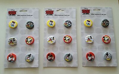 18 Disney Mickey Minnie Mouse & Friends Mini Buttons ~ Party Favors Individual