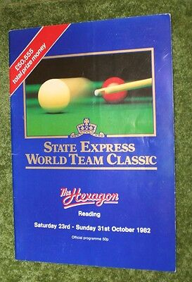Snooker State Express World Team Classics 1982 Autographed Prog