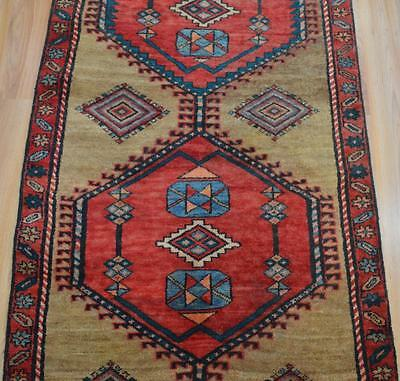 2'6x9'6 Authentic Semi Antique Persian Tribal Serab Hand Knotted Wool Runner Rug