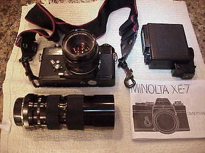 Minolta XE-7 35 MM Camera with Several Accessories. Vintage.