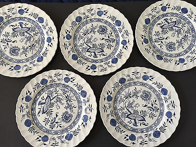 "Lot of 5 Old Vienna Wood & Sons (Wedgwood) Blue Onion - 10"" DINNER PLATES"