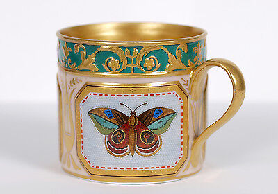 Antique KPM Berlin Micromosaic Butterfly Cup