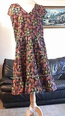 African Cotton Ankara Summer Dress Size UK 12/14