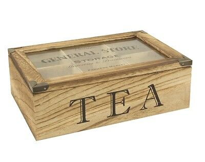 Vintage Farmers Market 6 Compartment Tea Bag Box Shabby Chic Candy Storage Chest