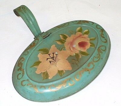 Vintage Silent Butler  Tole Painting all metal turquoise color crumb catcher