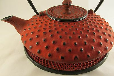 Cast Metal Tea Pot Kettle Asian Bright Red with Dots has leaf screen