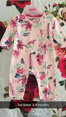 🎀 Ted Baker Baby Girls All In One Romper Suit 3-6 Months 🎀