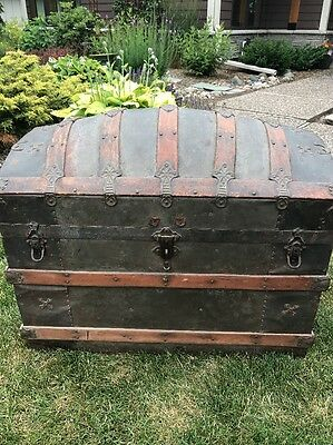Vintage CAMELBACK TRUNK  storage chest steamer humpback old wooden antique