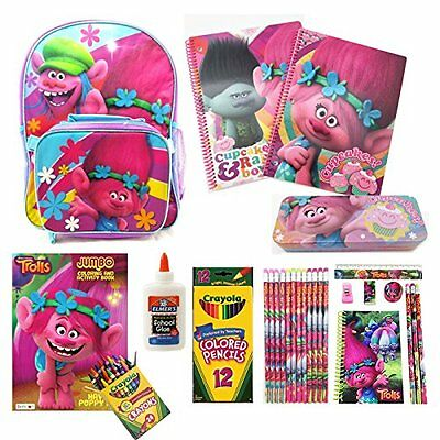 """16"""" Trolls Backpack w/ Detachable Lunch Bag and Back-To-School Accessories"""