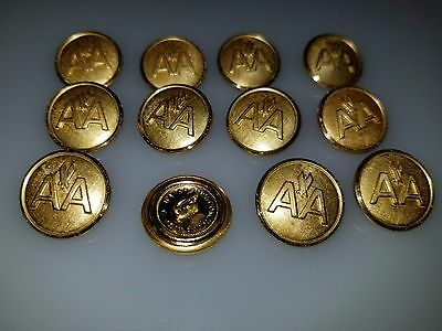 "Lot Of 12 Vintage Metal American Airlines Aa Uniform Buttons 3/4"" Pilot Flight"