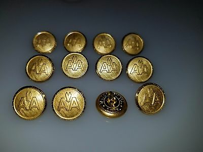"Lot Of 12 Vintage Metal American Airlines Aa Uniform Buttons 9/16"" Pilot Flight"