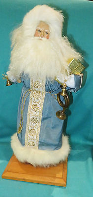 Rare Lynn Haney Santa 1990 Blue Satin Santa with Brass Horn & Leather Boots