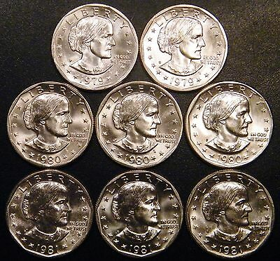 1979 PD 1980 PDS 1981 PDS Susan B Anthony BU Dollar US Mint Cello Run 8 Coin Set